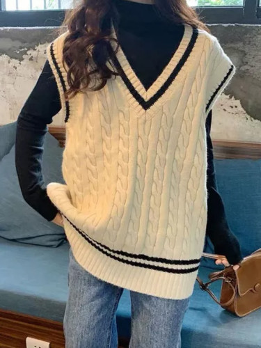Knit Sweater Vest V-necked Sleeveless Jumper Outwear Fall Winter