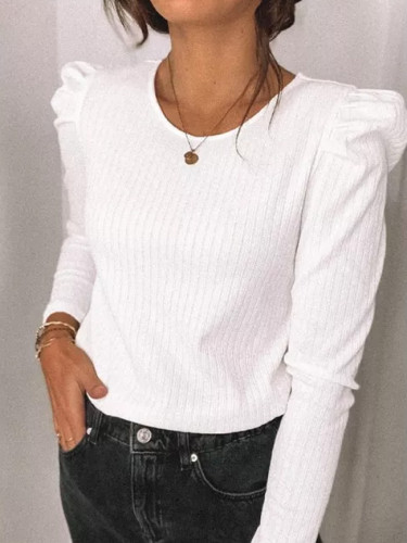 Women Casual Solid Knitwear Crochet Puff Long Sleeve Knit Tops