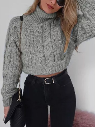 Women's Winter High collar sexy umbilical twist Casual Knitted Pullover Sweater