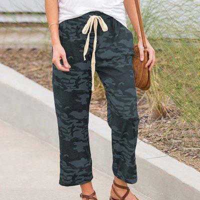 Woman Cotton Linen Solid Elastic waist Candy Colors Trousers