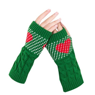 Women Winter Warmers Christmas Cashmere Fingerless Long Gloves  Knitted Heart type Glove