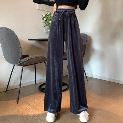 Autumn High Waist Drawstring Casual Pants Women Fashion Velet Loose Trousers