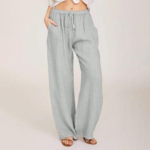 ladies printed stripe width wide leg pants mid leg   casual pants