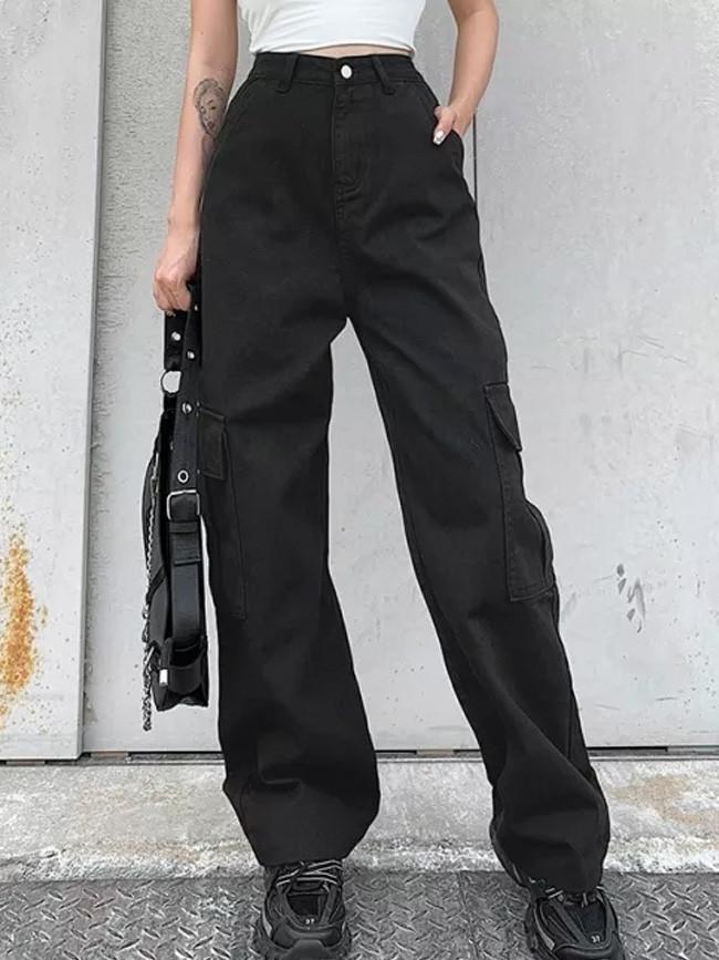 Autumn Fashion Cute Loose Big Pockets High Waist Woman Casual Cotton Denim Pants