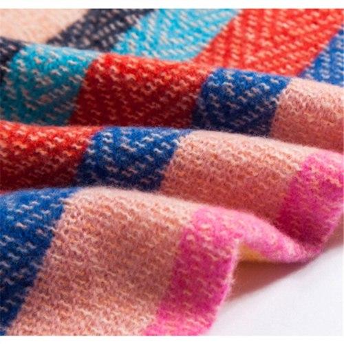 Women Autumn Stripe Cashmere Scarf Double Size Tassel Shawl  Warm