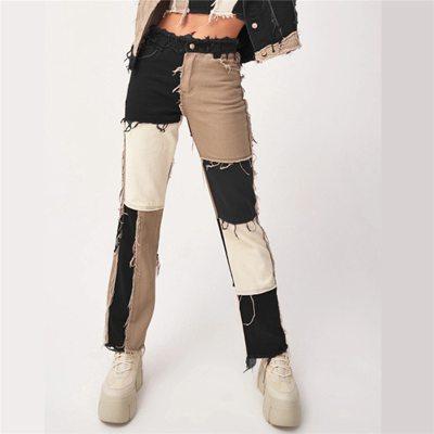 Autumn Patchwork High Waist Straight Denim Pants
