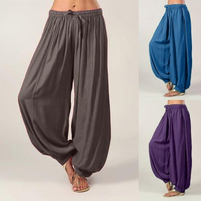 Trousers woman Casual Pants Solid Color Loose Pants Cotton Linen For Ladies