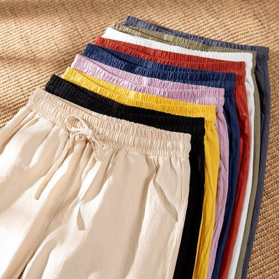 New Cotton Trousers Casual Loose Ankle Length Pure Color Pants