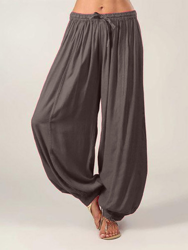 Trousers woman Casual Pants Solid Color Loose Pants Cotton Linen For Ladies