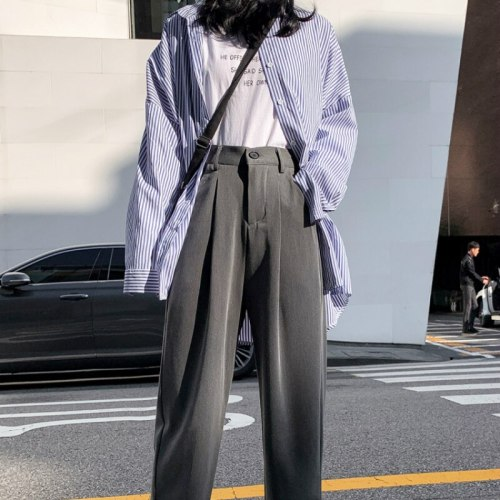 Long Trousers New Autumn Solid Loose High Waist Female Pant