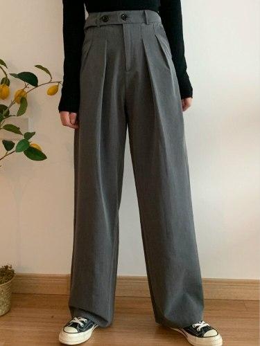 High Female Suit Pants Loose Plus Size Floor-length Wide Leg Pants