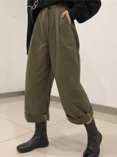 Green Cargo Pants  High Waist Slacks Wide Leg Pants Loose Long Flare Trousers