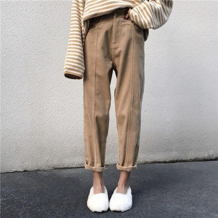 Women Corduroy Straight Pants Autumn Winter New High Waist Female Loose Trousers