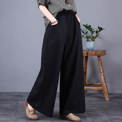 Women Cotton Linen Casual Trousers Autumn Simple Style Elastic High Waist Loose Wide Leg Pants