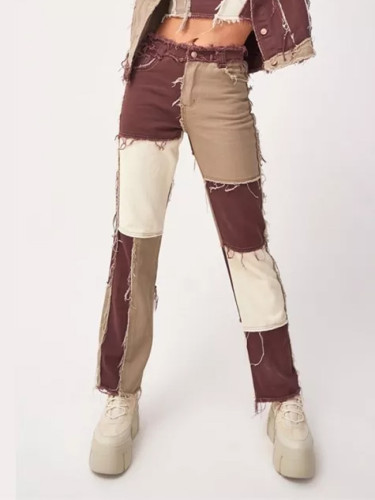 Autumn Patchwork High Waist Straight Denim Pants