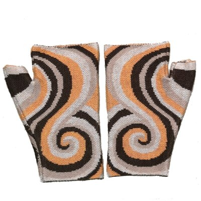 New Women's Embroidered Warm Knit Spiral Jacquard Wool Winter Gloves
