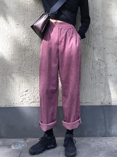 Loose Women Corduroy Pants Autumn Winter New Fashionable Elastic Waist Button Trousers