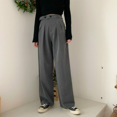 High Female Suit Pants Loose Plus Size Floor-length Wide Leg Pants