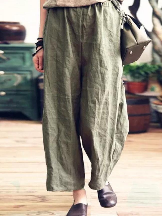 New Loose Stretch High Waist Wide Leg Pants Women Cotton Linen Trouser