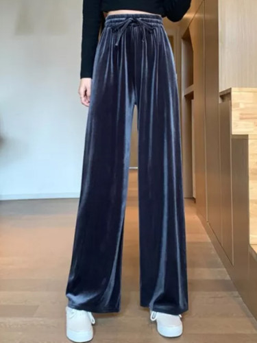 Autumn High Waist Drawstring Casual Pants Women Fashion Velet Loose Trousers