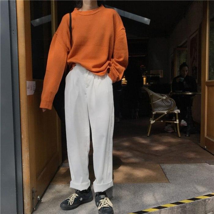 Loose Women Corduroy Pants Autumn Winter New Fashionable Elastic Waist Button Trousers