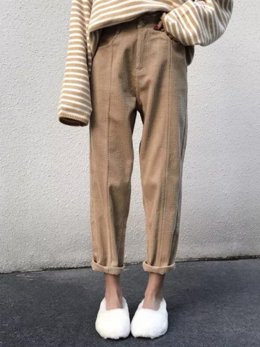 Women Corduroy Straight Pants Autumn Winter New High Waist Female Loose Trousers