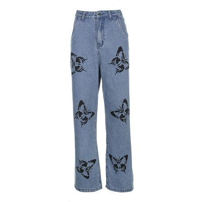 Fashion Cute Loose Print Butterfly Straight High Waist Woman Casual Cotton Jeans Trousers