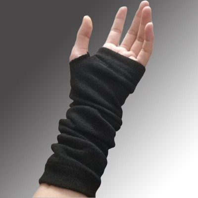 Black Stretch Glove Fingerless Cuff Ninja Sport Elbow Length Mitten