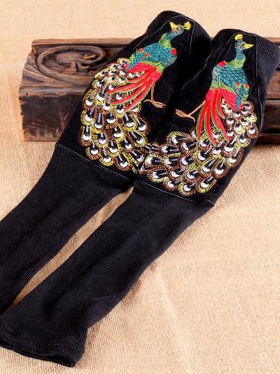 Retro Ethnic Sleeve Knitted  Fingerless Gloves Peacock Embroidery Gloves