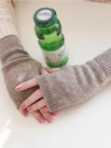 Sheep Wool Mitt Exposed Finger Women's Gloves Winter Autumn Knitted for Women Fingerless Gloves Wrist Mittens