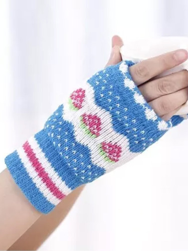 Autumn Winter Gloves Half Finger Warm Wrist Sleeves Have Finger Hole Exposed Finger