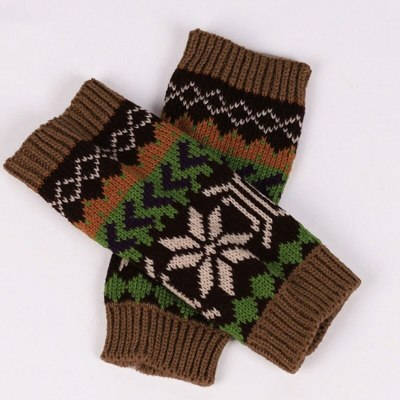 Women Hand Crochet Knitting faux Wool Mitten Warm Fingerless Gloves