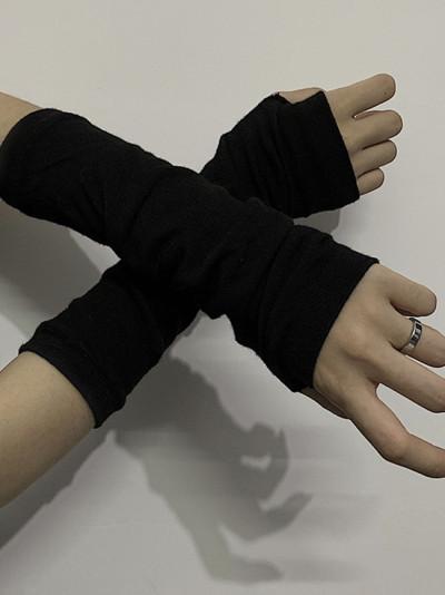 Fingerless Gloves Cuff Women Sport Outdoor Elbow Length Mittens Arm