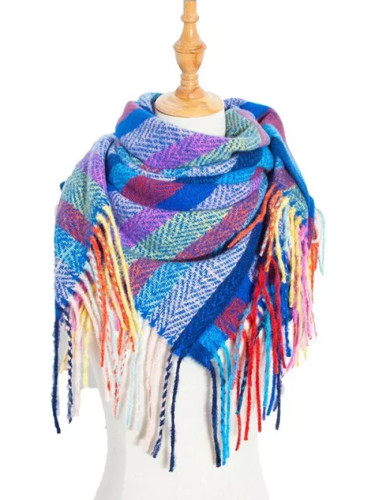 Women Autumn Stripe Cashmere Scarf Double Size Tassel Shawl  Warm