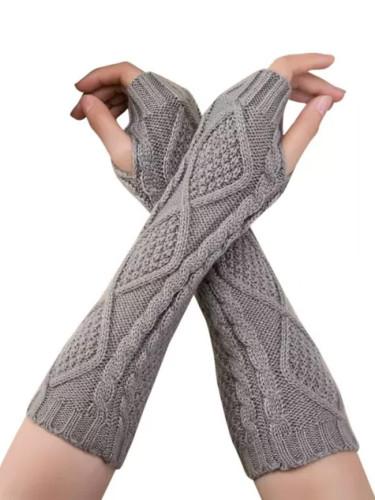 Winter Unisex Knitted Fingerless Gloves Casual Soft Warm Gloves