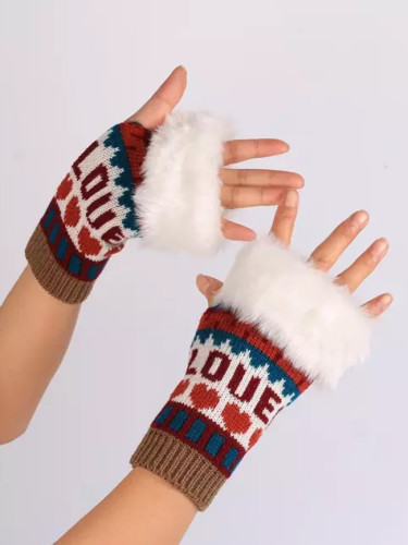 Love Heart Faux Fur Women Half-finger Gloves Warm Keeper Knitted Mitten Winter
