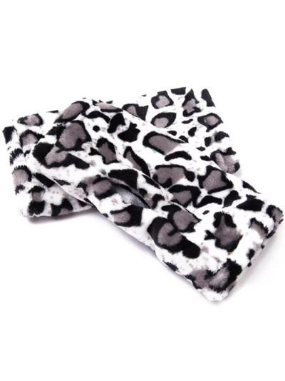New Thickened Flannel Half Finger Gloves  Leopard Print Solid Black Women Winter