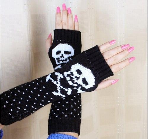 Fashion Lady Cartoon Skull Knitting Acrylic Arm Sleeve Warm Warmer Gloves