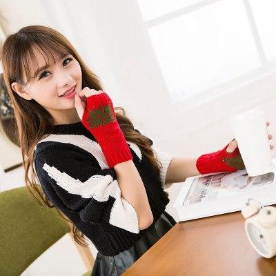 Christmas Elk Crochet Knitted Fingerless Gloves Short Wrist Warm Mittens