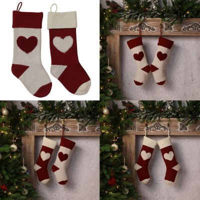 Cute 3D Heart Pendant Fireplace Xmas Tree Decorations Gift Candy Treat Bag