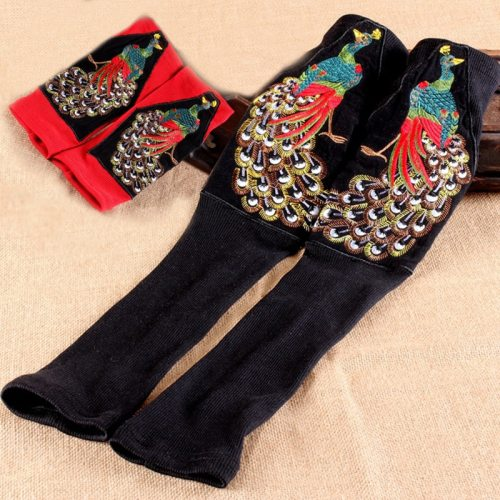 Retro Ethnic Sleeve Knitted  Fingerless Gloves Peacock Embroidery Gloves