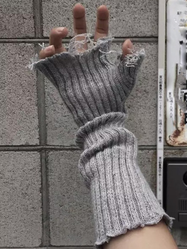 Fingerless Cuff Knit Gloves Women Men Elbow Length Mittens Broken Cool Stretch Arm Warmer