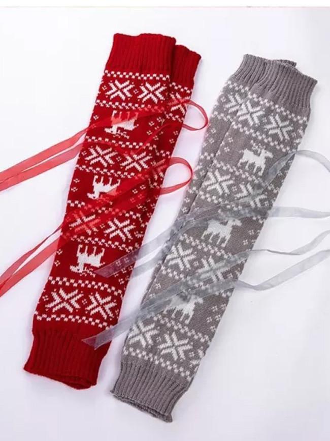 Women Christmas Crochet Knit Long Leg Warmers Reindeer Snowflake Jacquard High Cover Boot Socks