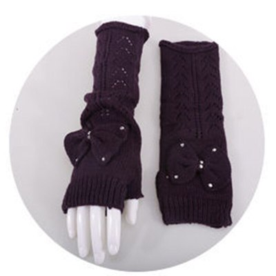 Lovely Women Knit Fingerless Fashion Hollow Out  Mittens