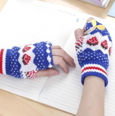 Autumn Winter Gloves Half Finger Warm Wrist Sleeves Have Finger Hole Exposed Finger