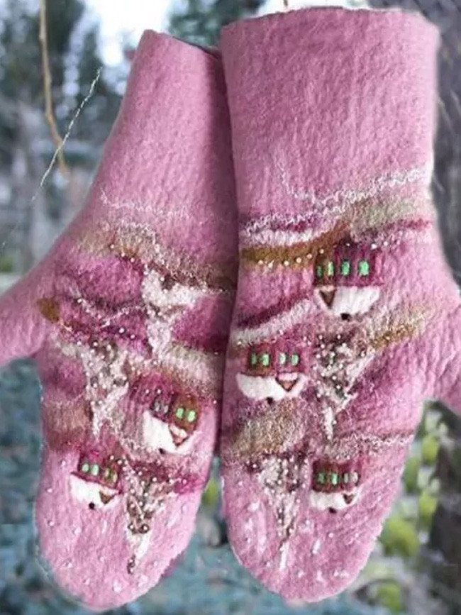 Fashion Hand Gloves for Woman Christmas Gloves Winter Warm Mittens Pink Gloves