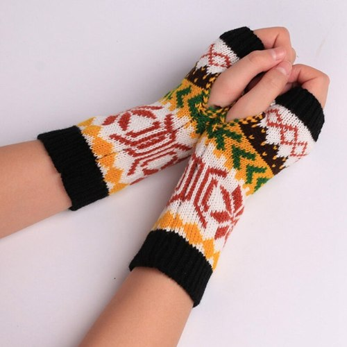 Women Hand Crochet Knitting faux Wool Mitten Warm Fingerless Gloves