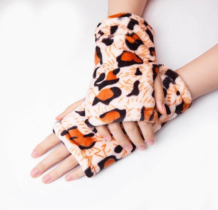 New Thickened Flannel Half Finger Gloves  Leopard Print Solid Black Women Winter