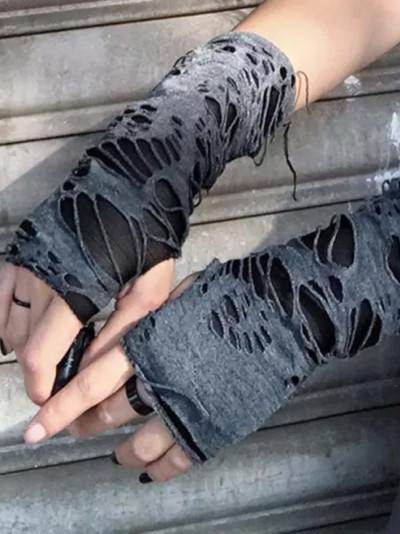 Fingerless Cuff Ninja Sport Hole Mitten Hollow Out Gloves