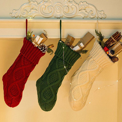 Christmas Knitted Stockings Decor Festival Gift Bag Fireplace Xmas Tree Hanging Ornaments